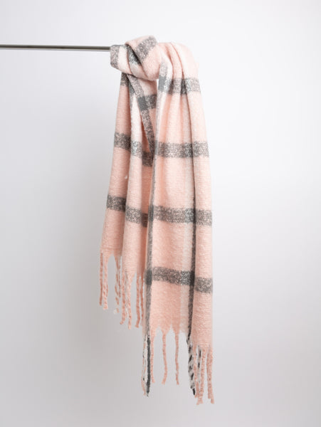 Acrylic Winter Scarf - Pink Plaid-STYLED BY SARVI-Over the Rainbow