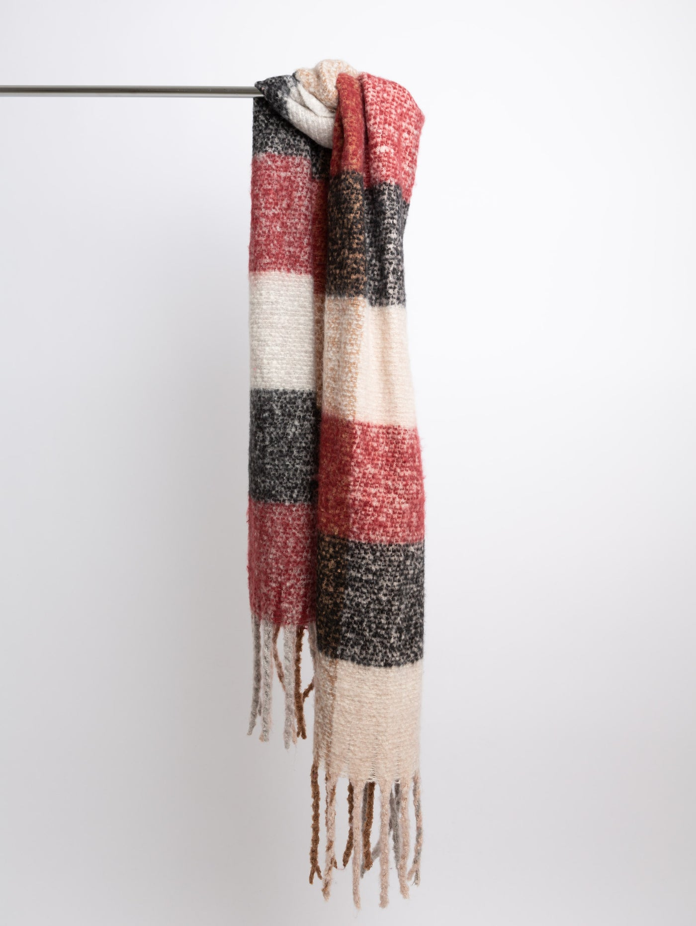 Acrylic Winter Scarf - Red/Grey-STYLED BY SARVI-Over the Rainbow