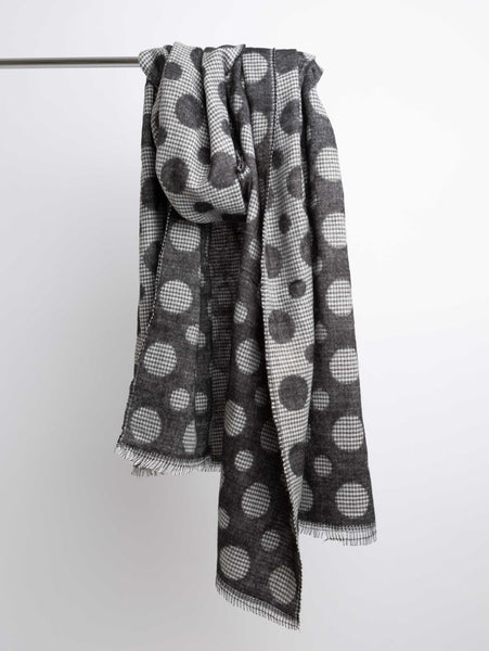 Acrylic Winter Scarf - Black Polka Dot-STYLED BY SARVI-Over the Rainbow