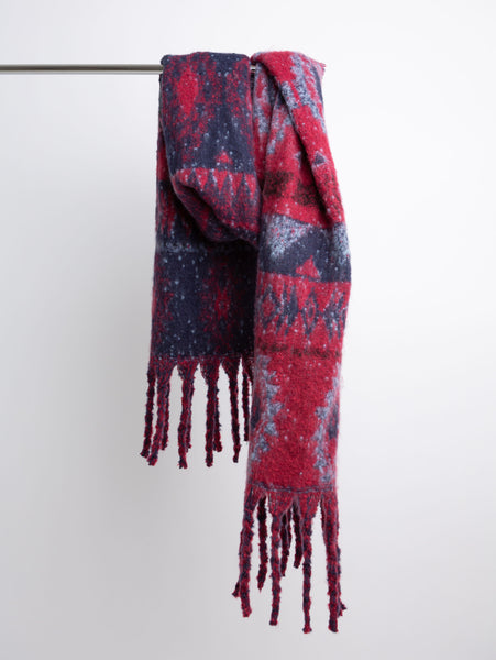 Acrylic Winter Scarf - Red/Blue-STYLED BY SARVI-Over the Rainbow