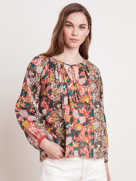 Paz Printed Peasant Top-Velvet-Over the Rainbow