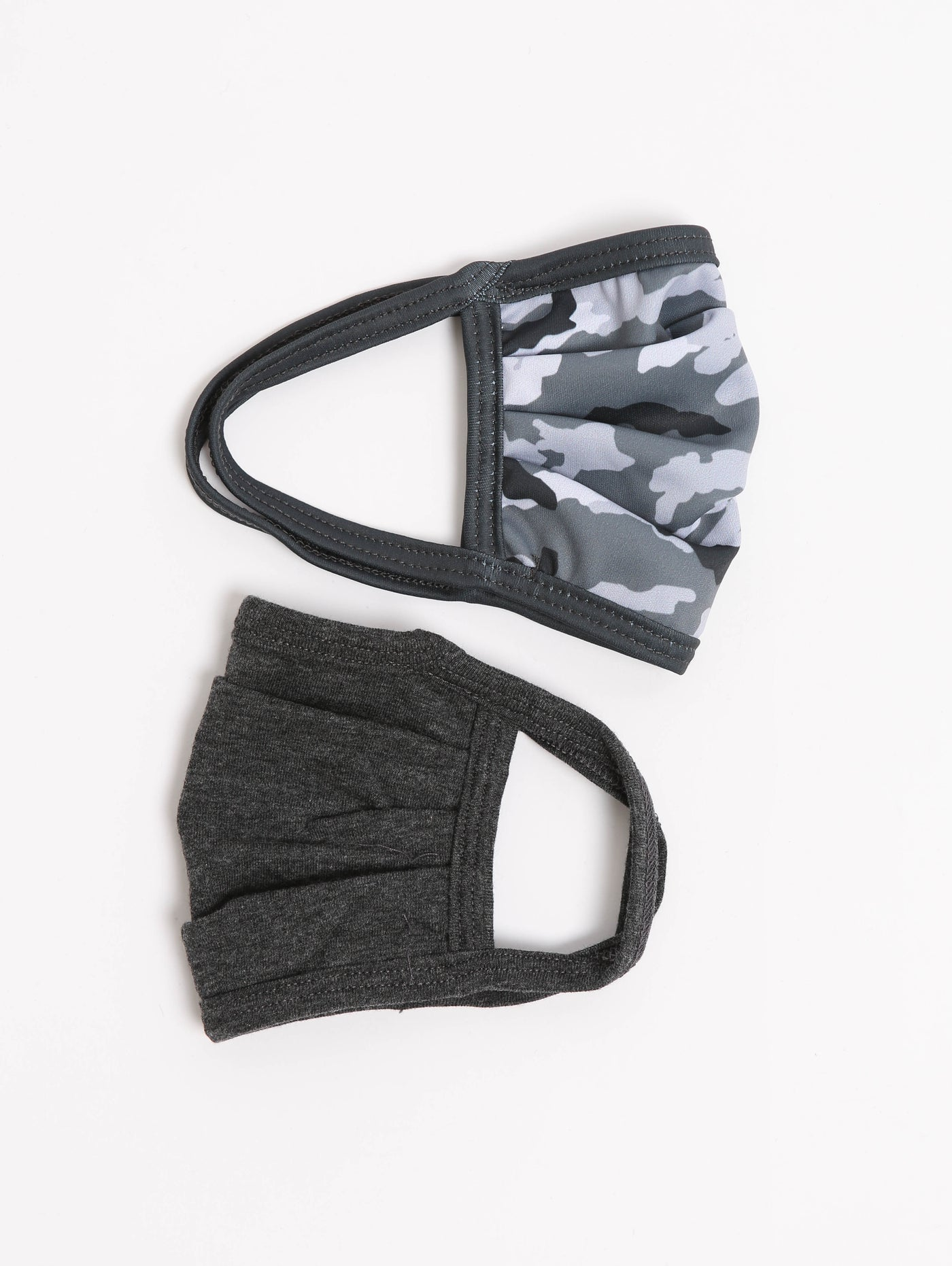 Kids 2-Pack Face Mask - Grey Camo + Charcoal-MVFA-Over the Rainbow