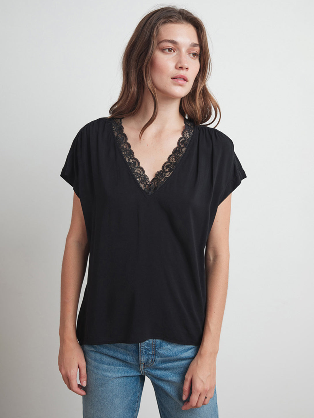 Paisley Lace V Neck Rayon Challis Top-Velvet-Over the Rainbow