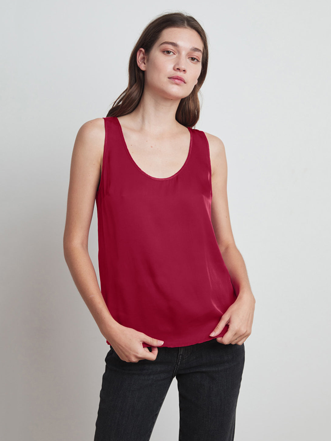 Darla Satin Tank Top-Velvet-Over the Rainbow