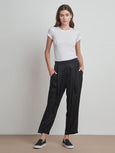 Hillary Satin Pleated Pant-Velvet-Over the Rainbow