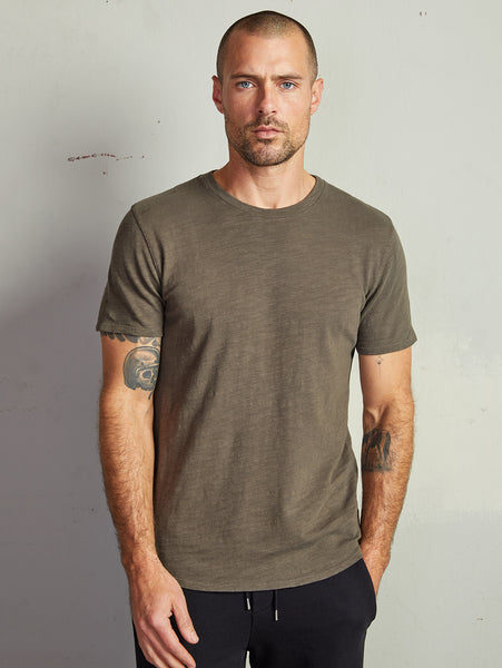Anton Slub Cotton Knit T-Shirt - Olive-Velvet-Over the Rainbow