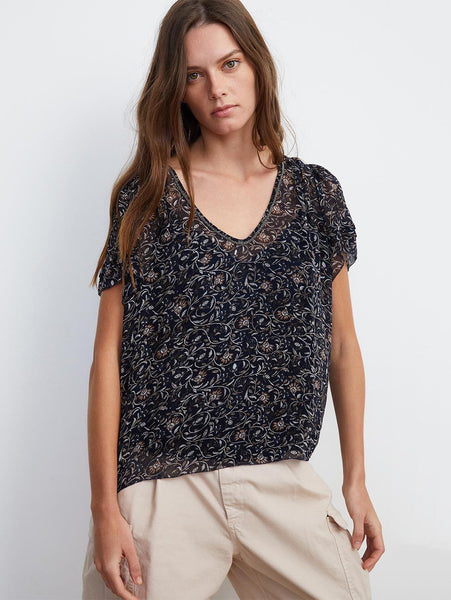 Tracia Thistle Floral Print Short Sleeve Top-Velvet-Over the Rainbow