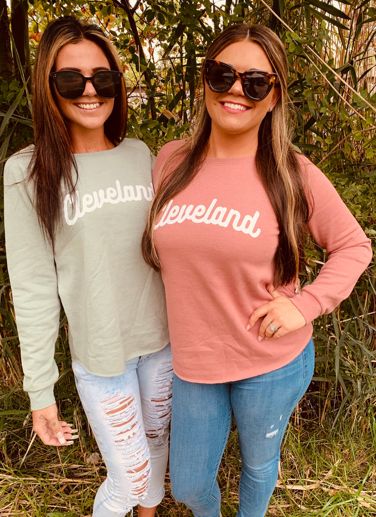 Classic Cleveland Ladies Wave Wash Sweatshirts - Mistakes on the Lake