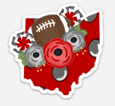 Ohio floral football Sticker - Mistakes on the Lake