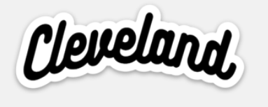 Classic Script Cleveland Sticker - Mistakes on the Lake