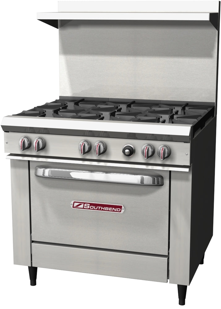 "NEW 36"" Commercial Range with 6 burners (28,000 btu) and a standard oven (32,000 btu) by Southbend"