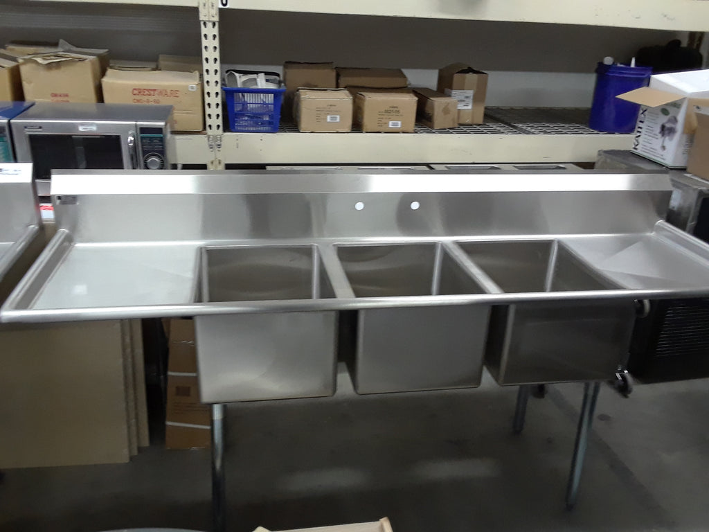 Elkay 3 Compartment Stainless Steel Sink w/ 2 Drain boards
