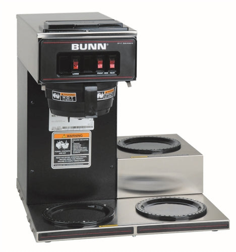 Bunn Black Stainless Steel Low Profile Pourover Coffee Brewer with Three Warmers