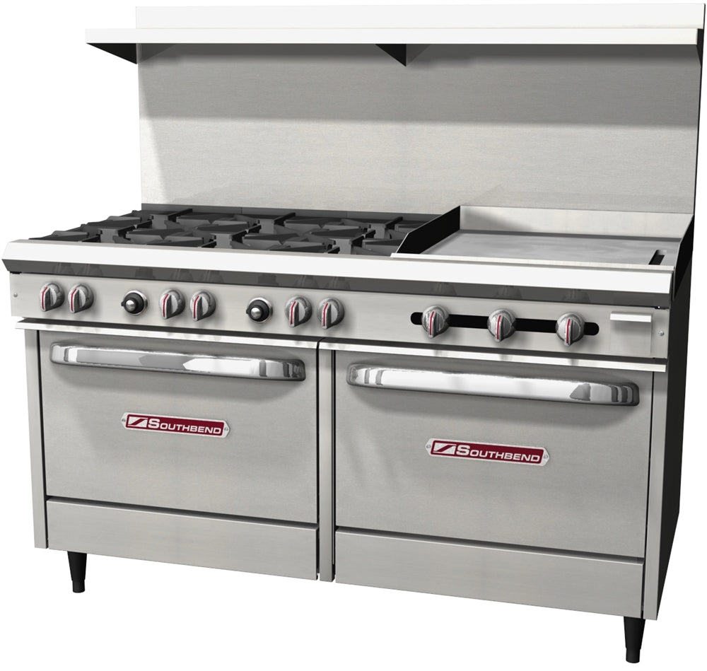 "Southbend S-Series 60"" W Commercial Range 6 Burners, (1) 24"" Griddle, and 2 Standard Ovens S60DD-2G"