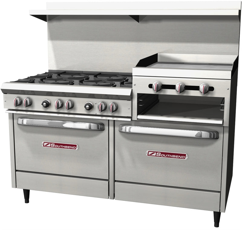 "Southbend S-Series 60"" W Commercial Range 6 Burners, (1) 24"" Raised Griddle, and 2 Standard Ovens S60DD-2RR"