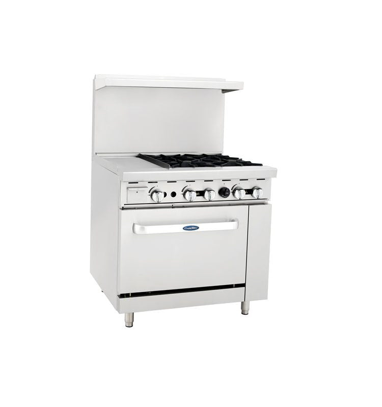 "Atosa Cookrite ATO-12G4B 36″ Gas Range 12"" Griddle 4 Burner with Oven"