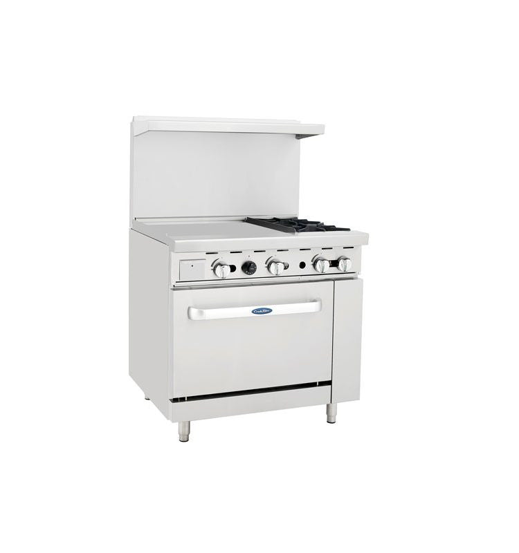 "Atosa Cookrite ATO-24G2B 36"" Gas Range 24"" Griddle 2 Burners with Oven"