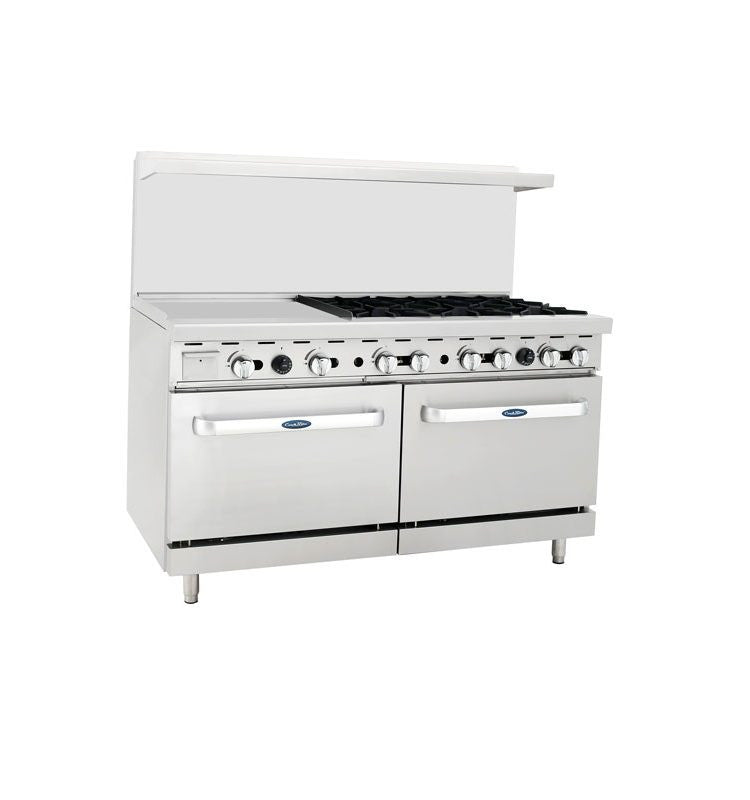 "Atosa Cookrite ATO-24G6B 60″ Gas Range 24"" Griddle 6 Burners with 2 Ovens"