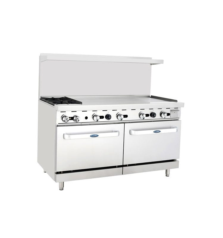 "Atosa Cookrite ATO-2B48G 60″ Gas Range 2 Burners 48"" Griddle with 2 Ovens"