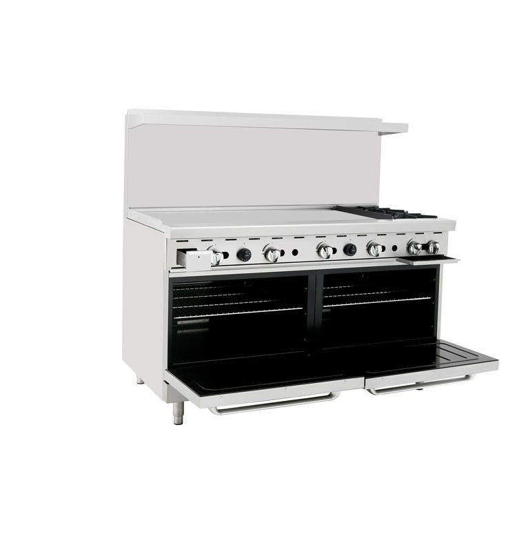 "Atosa Cookrite ATO-48G2B 60"" Gas Range 48"" Griddle 2 Burners and 2 Ovens"