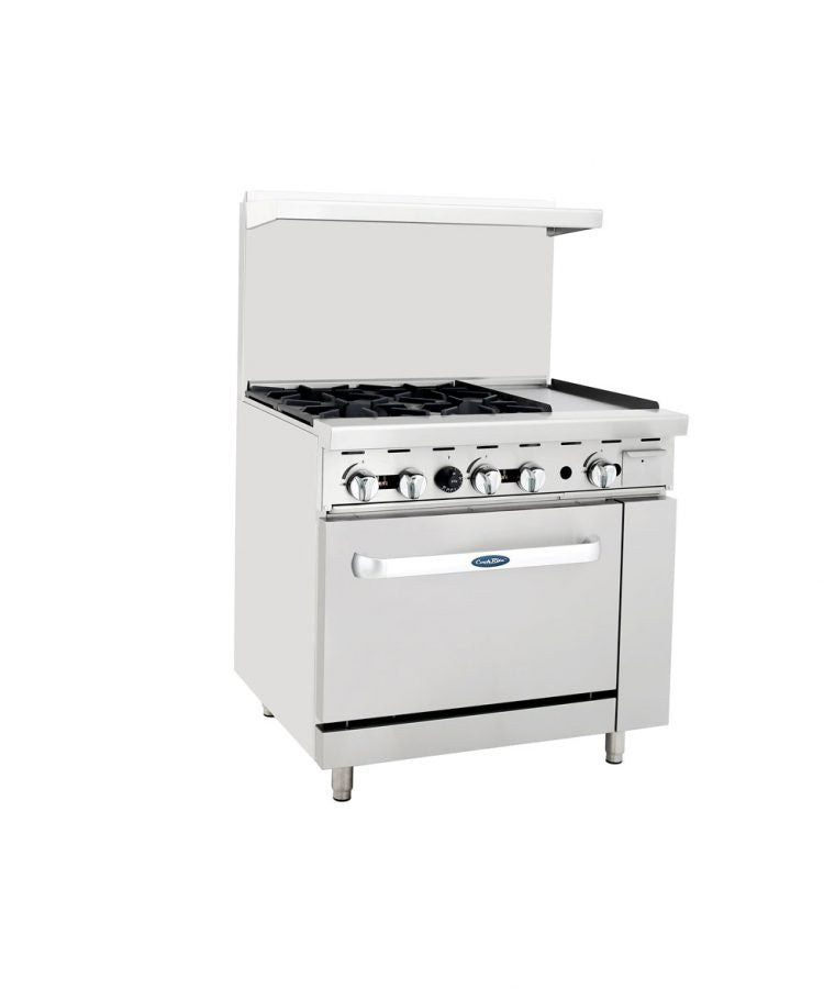 "Atosa Cookrite ATO-4B12G 36"" Gas Range 4 Burner 12"" Griddle with Oven"