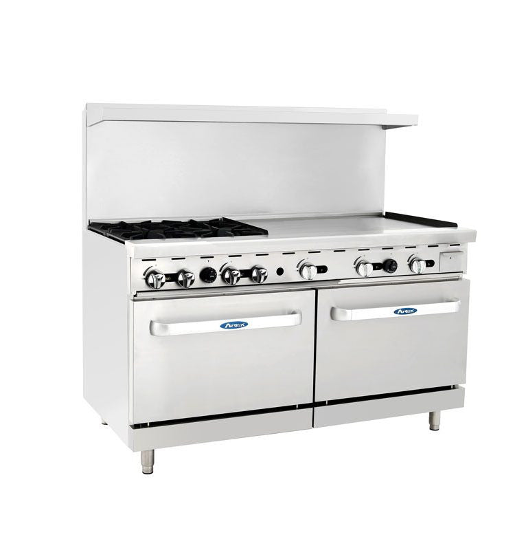 "Atosa Cookrite ATO-4B36G 60″ Gas Range 4 Burners 36"" Griddle with 2 Ovens"