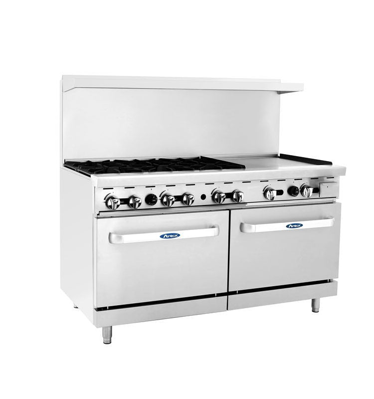 "Atosa Cookrite ATO-6B24G 60"" Gas Range 6 Burner 24"" Griddle with 2 Ovens"