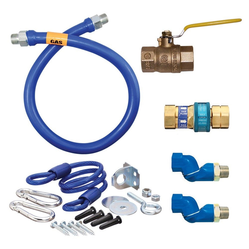 "Safety System Kit, 3/4"" dia., 60"" Blue Hose, SnapFast, 2 Swivel MAX, full port valve, elbow, restraining device"