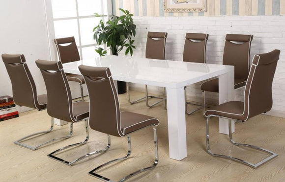 White Gloss Dining Table & 8 Chairs