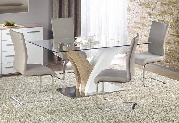 Glass, Oak Effect & White Dining Table With 6 Grey Chairs