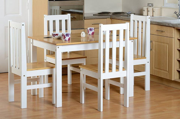 White /Oak Lacquer Dining Table & Chairs