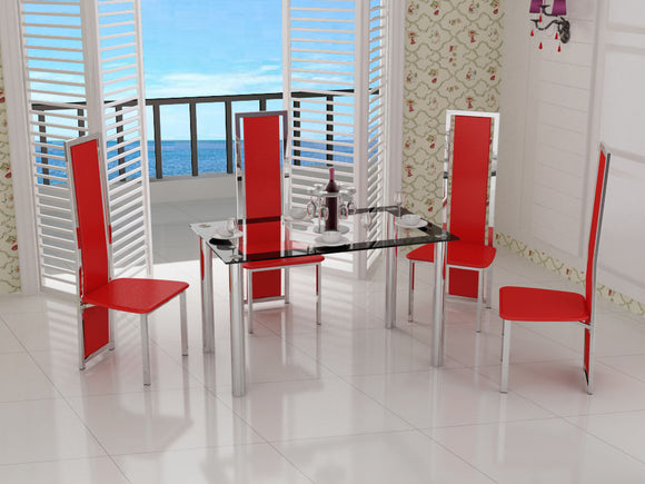 Glass & Chrome Dining Table With 4 Red Chairs