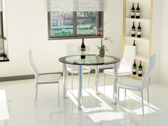 White Clear Glass & Black Trim Dining Table With 4 Chairs