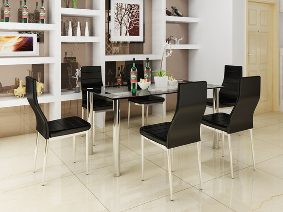 Modern Dining Table 6 Seater Set With Faux Leather Chairs
