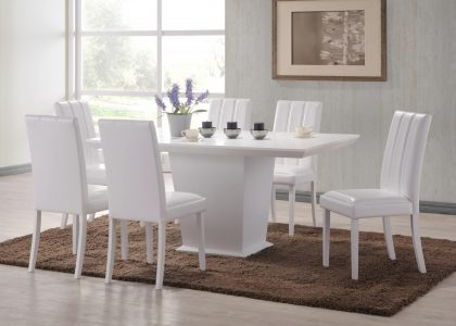 Rubberwood Veneer Dining Table & 6 Chairs