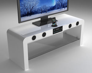 White Gloss TV Unit With Bluetooth Speakers & USB Music Play