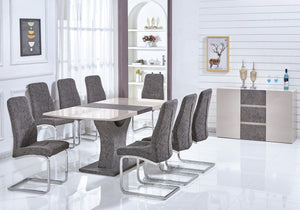 High Gloss Cream & Stone Effect Dining Table & Living Room Furniture