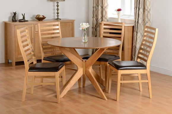 Natural Oak Dining Table & 4 Brown Faux Leather Chairs