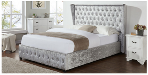 Crushed Velvet Silver Bed Frame