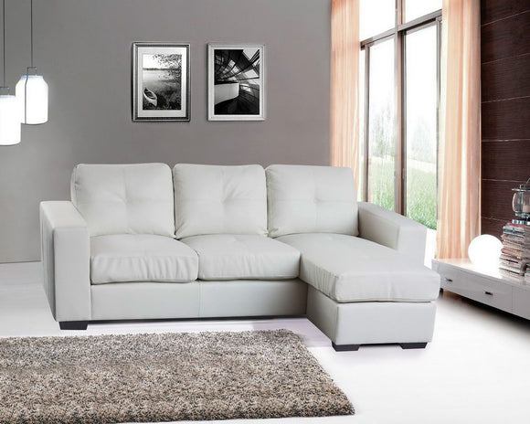 Full Bonded Leather Chaise Sofa