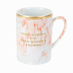 Real Queens Fix Each Others Crowns Pink Marble Mug