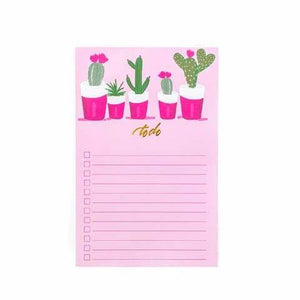 Cactus To Do Checklist Note Pad
