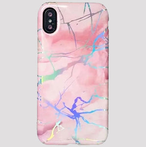 Pink Holographic Marble iPhone Case