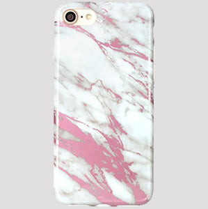 Metallic Pink and White Marble iPhone Case