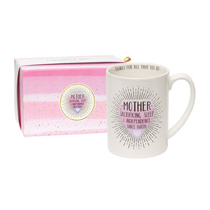 Mother ~ Sacrificing Sleep & Independence Since Birth Boxed Mug