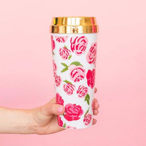 Pink Rose Coffee Tumbler