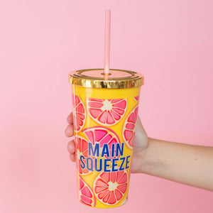 Main Squeeze Drink Tumbler w/ Straw