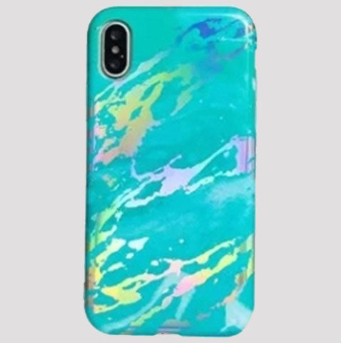 Turquoise Holographic Marble iPhone Case