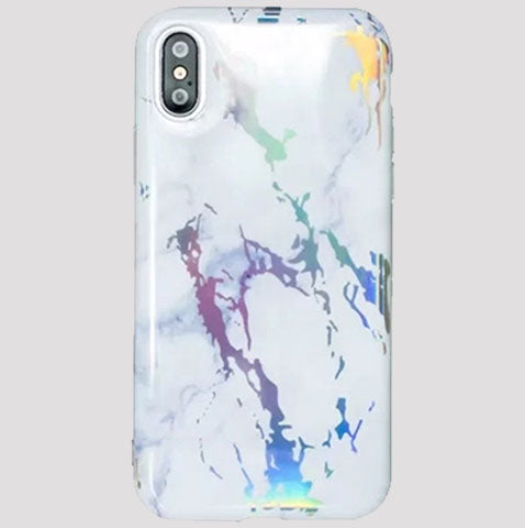 White Holographic Marble iPhone Case