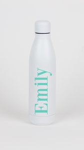 Full Name Matte White Water Bottle